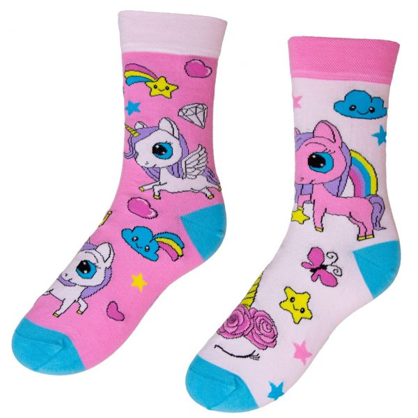 Barevné veselé ponožky - Jednorožec