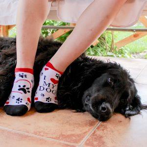 Veselé kotníkové ponožky – love my dog